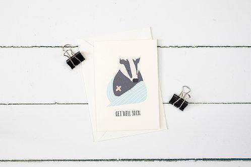 Get well soon badger greetings card