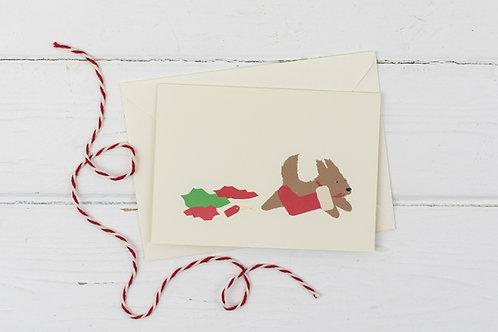 Naughty brown dog with stocking- Christmas greetings card