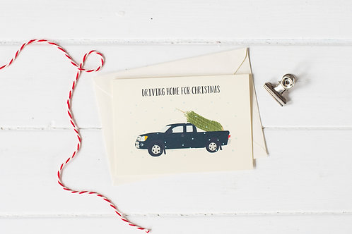 Pick up truck in black with Christmas tree- greetings card
