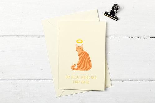 Cat pet sympathy card- ginger tabby cat- Furry Angel- pet loss card