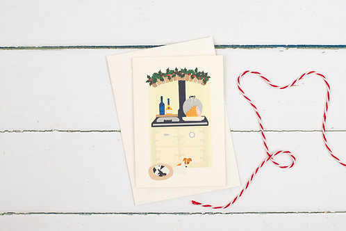 Cream Aga Christmas greetings card