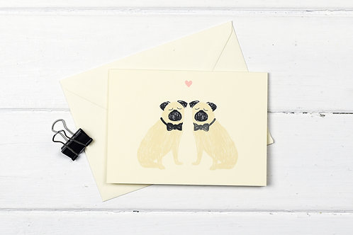 Pug- wedding- Male couple greetings card