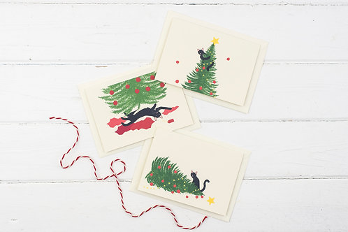 Set of 3 Naughty Christmas Cat cards- Christmas greetings card set