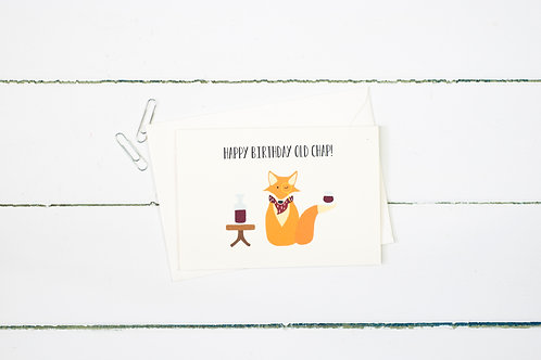 Happy Birthday Old Chap- Fox greetings card