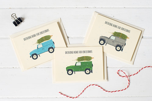 Set of 3 Landcover Defender Christmas greetings cards