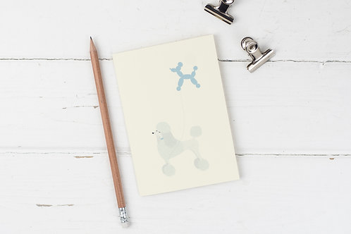 Poodle with poodle balloon card
