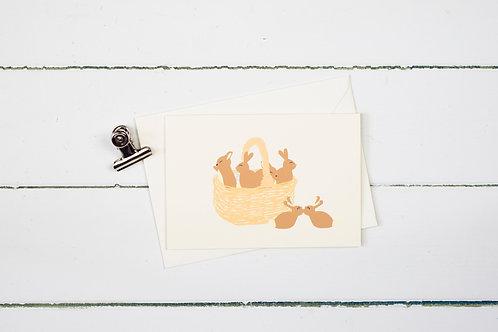 Basket of bunnies- Easter greetings card