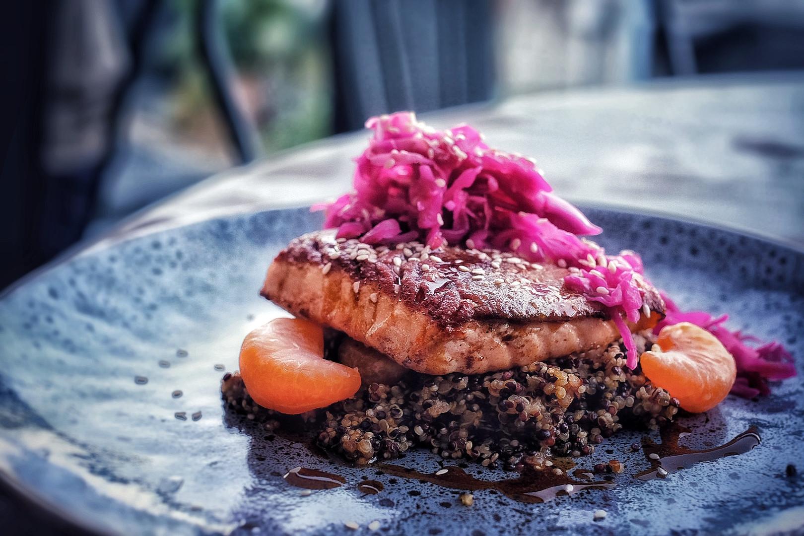 Pan fried salmon, mandarin ponzu, quinoa, sauerkraut