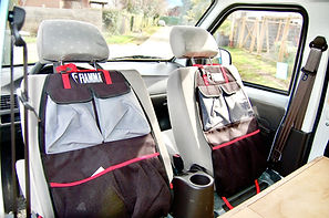 Front seat storage units