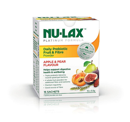 Nu-Lax Platinum Daily Prebiotic Fruit & Fibre Powder - Apple & Pear Flavour