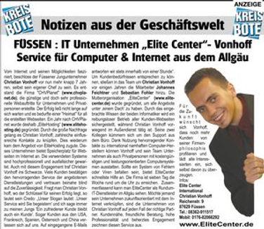 Zeitungsbericht EliteCenter Computer und Internet