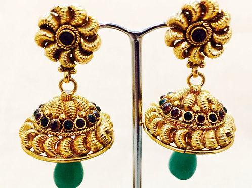 Earrings,Indian Earrings,Jhumka Earrings,Gold Jhumka Earrings,Gold Green Jhumka Earrings,Green Jhumkas,Bejewelled Bazaar