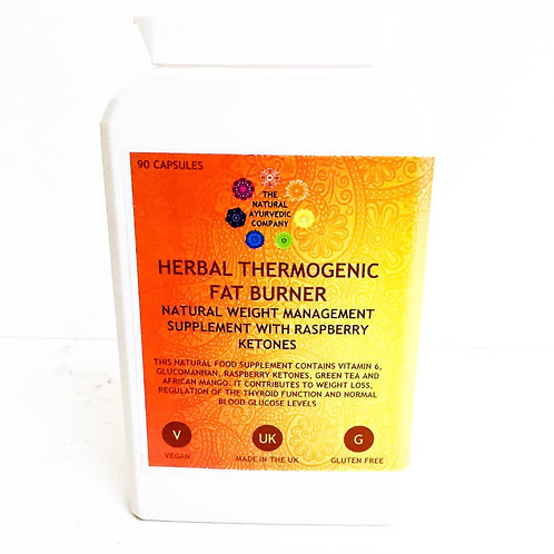 Herbal Thermogenic Fat Burner | The Natural Ayurvedic Company | Ketones | Glucomannan | Weight loss | Capsules | Supplements
