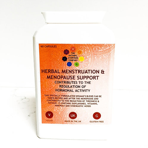Herbal Menstruation & Menopause Support | The Natural Ayurvedic Company | Supplements | Ease period pain | Vitamins | Capsule