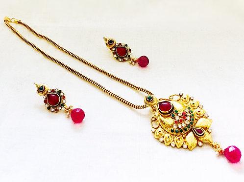 Gold Polki Pendant Set,Indian Jewellery,Diwali Gift,Polki Pendant Set,Eid Gift,Indian Jewellery Set,Bejewelled Bazaar