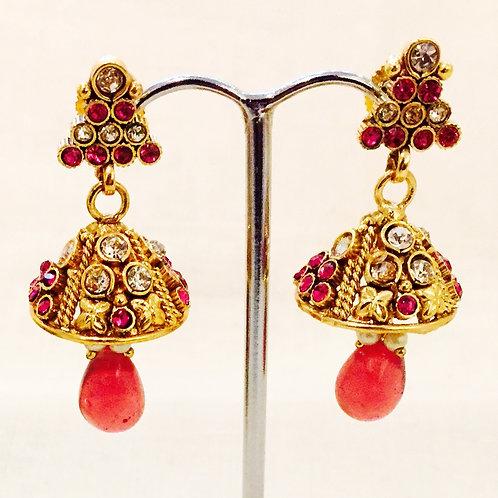 Earrings,Indian Earrings,Jhumka Earrings,Drop Earrings,Gold Jhumka Earrings,Gold Pink Jhumka Earrings,Bejewelled Bazaar
