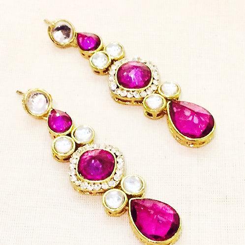 Earrings,Indian Earrings,Purple Earrings,Drop Earrings,Chandelier Earrings,Couture Earrings,Gold Earrings,Bejewelled Bazaar