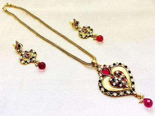 Heart Shaped Antique Gold Coated Polki Jewellery Set with Red Accent Stones