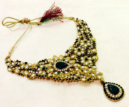 Antique Gold Coated Green Accent Stone Indian Jewellery Set