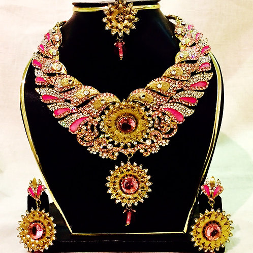 Antique Gold Coated Pink Accent Stone Indian Jewellery