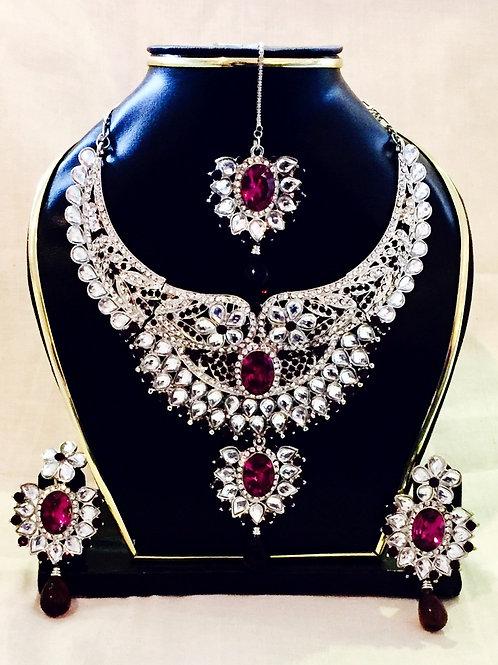Silver American Diamond Purple Accent Stone Indian Jewellery Set