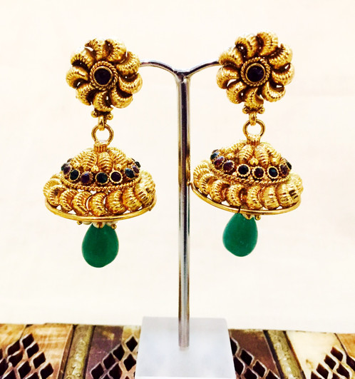 Earrings Indian Jhumka Gold Green