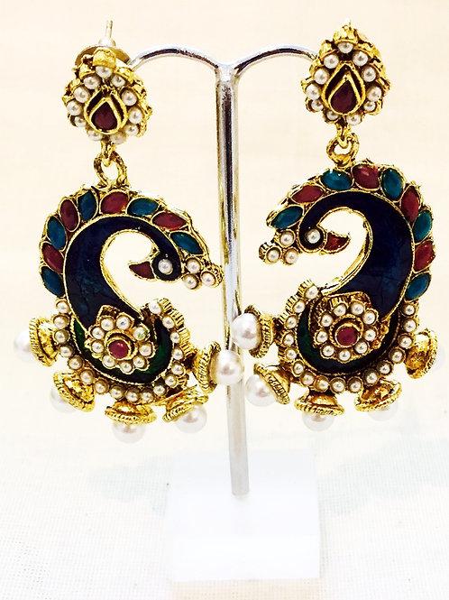 Earrings,Indian Earrings,Blue Peacock Earrings,Blue Drop Earrings,Drop Earrings,Pearl Earrings,Bejewelled Bazaar