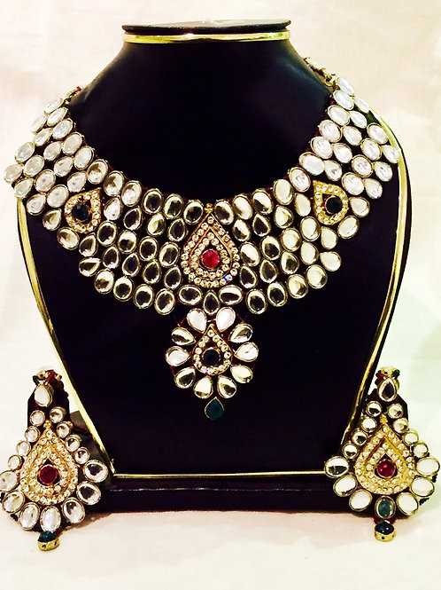 American Diamond Red and Green Accent Stone Indian Jewellery Set