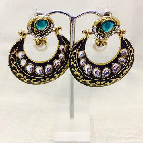 Ornate Indian Green and Gold Hoop Pearl Earrings