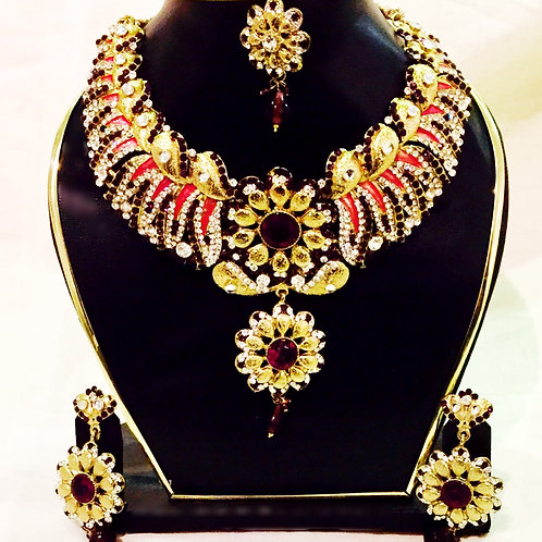 Antique Gold Coated Pink and Purple Accent Stone Indian Jewellery Set