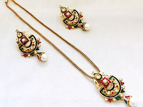 Antique Gold Coated Polki Jewellery with Red,Green,Blue and Pearl Accent Stones