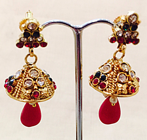 bejewelled bazaar gold jhumka earrings with and green stones