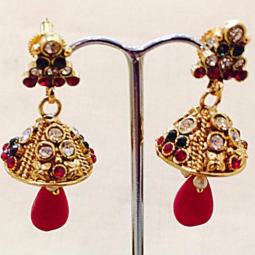 Earrings,Indian Earrings,Jhumka Earrings,Drop Earrings,Gold Jhumka Earrings,Gold Red Jhumka Earrings,Bejewelled Bazaar