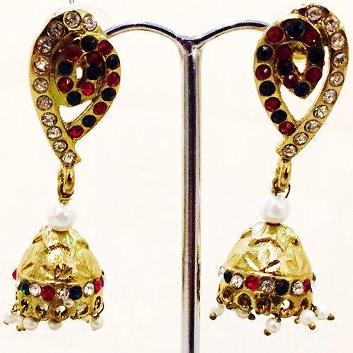 Earrings,Indian Earrings,Jhumka Earrings,Drop Earrings,Gold Jhumka Earrings,Gold Pearl Jhumka Earrings,Bejewelled Bazaar