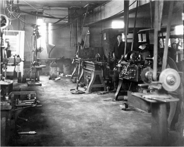 ancient machine shop; lathes, grinders and heavy tools