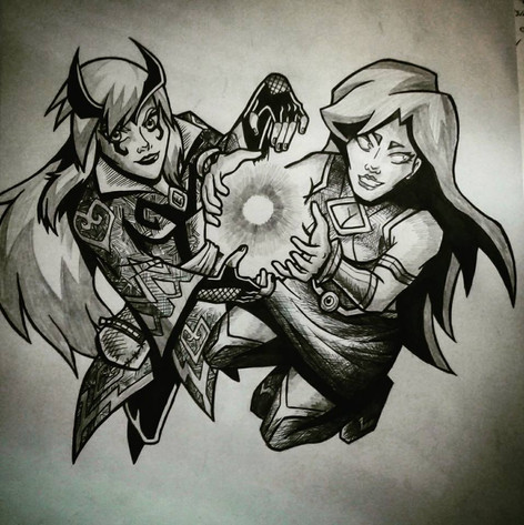 Charmcaster and Starfire