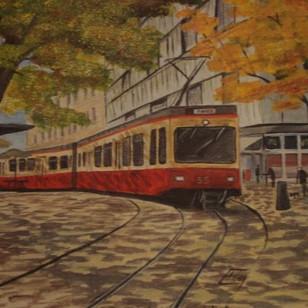 Forchbahn am Stadelhofen, mit 17 Jahren gemalt