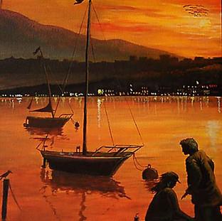 Sonnenuntergang am ZH See, von ca. 9 Jahren gemalt