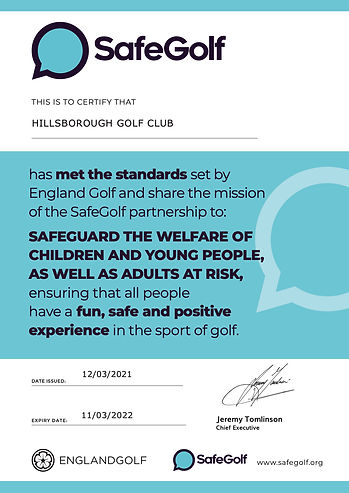 SafeGolf Certificate - HILLSBOROUGH GOLF