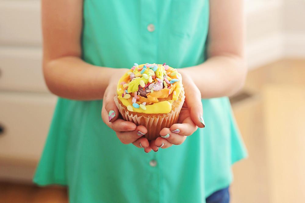 The finished vanilla cupcake