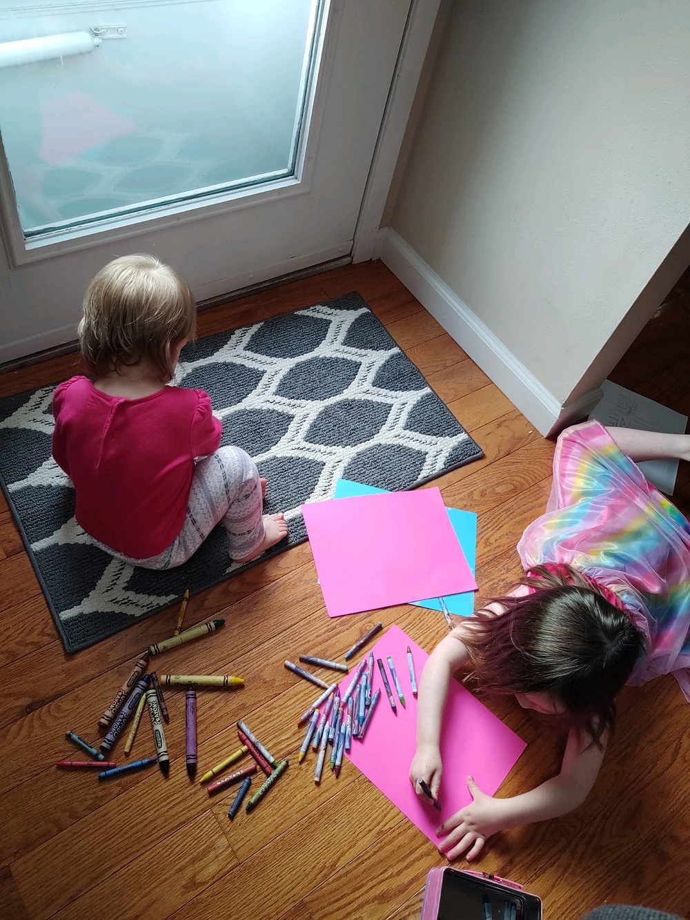 Two sisters coloring
