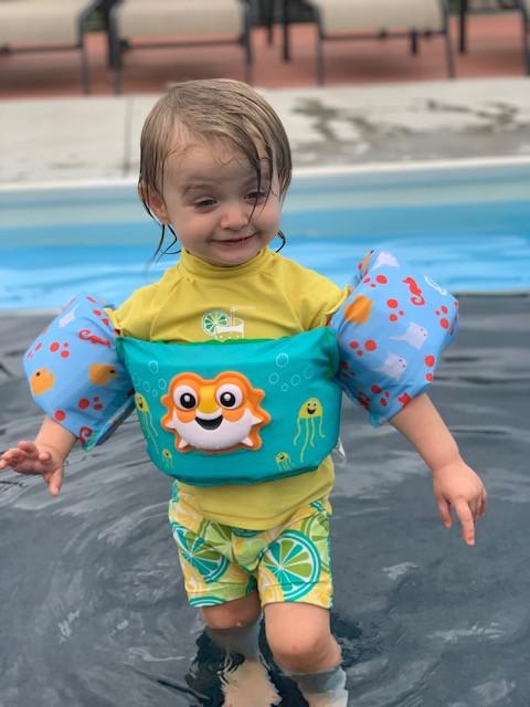 Charli at pool