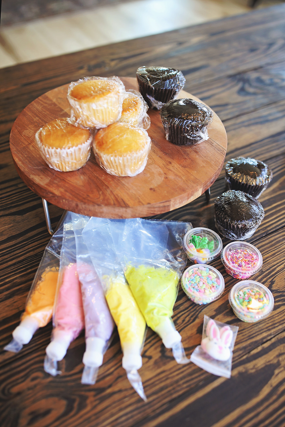 Cupcakes, icing, and sprinkles from Sweetology