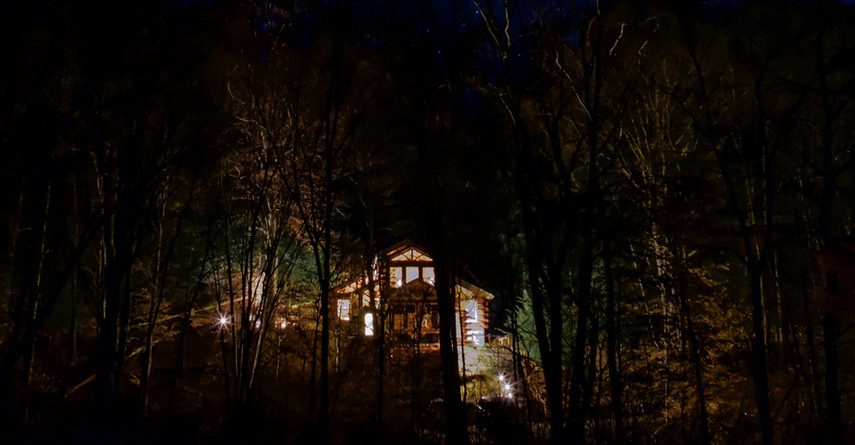 Our cabin on a starry night.
