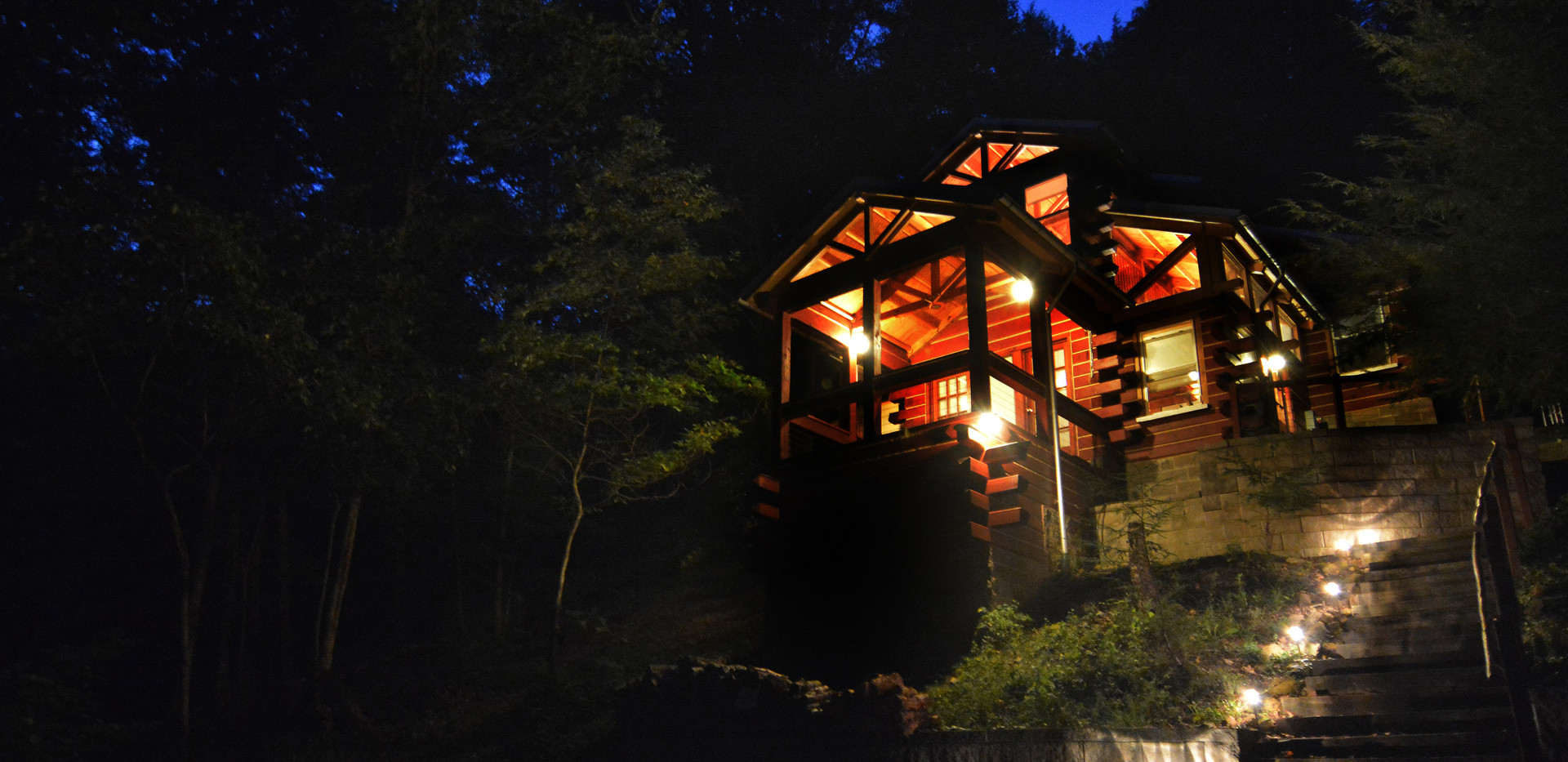 The cabin at dusk.