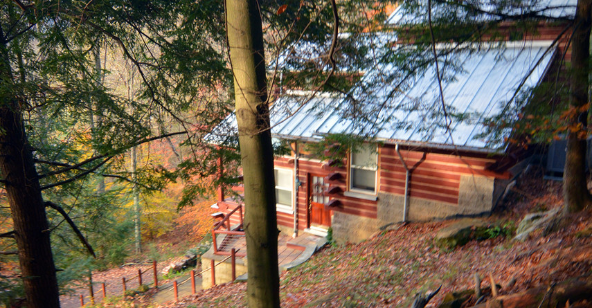 A view from the hill behind the cabin.