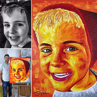 Acrylic painting of smiling boy