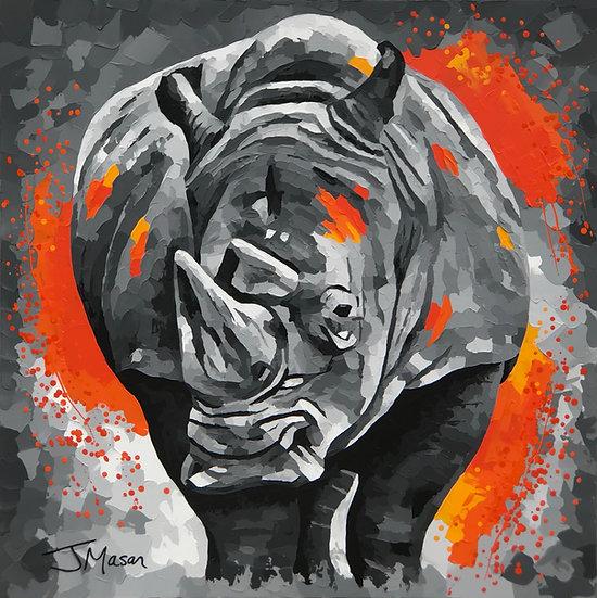 """Rhino"" 100cm x 100cm"