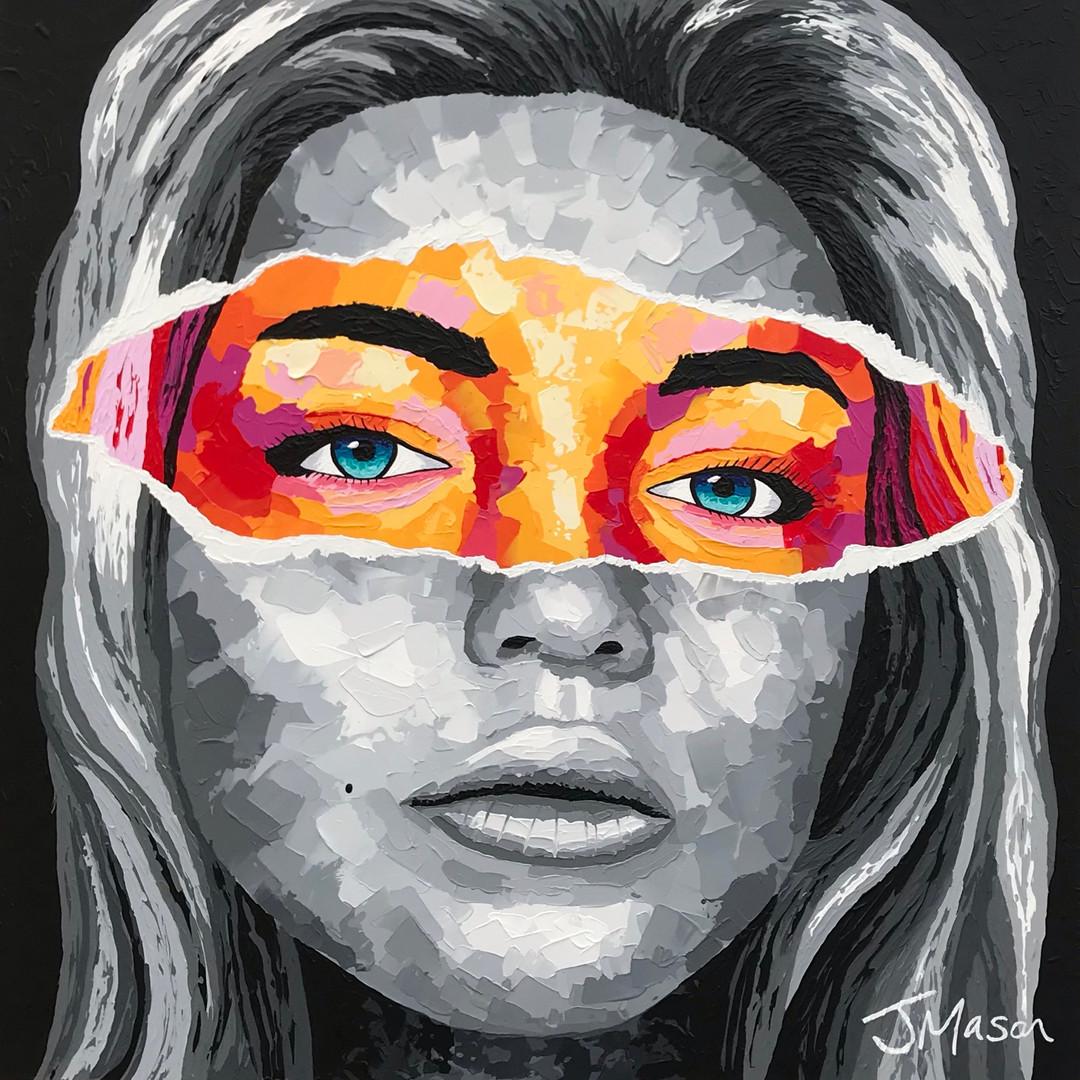 Unmasked. Acrylic portrait on canvas