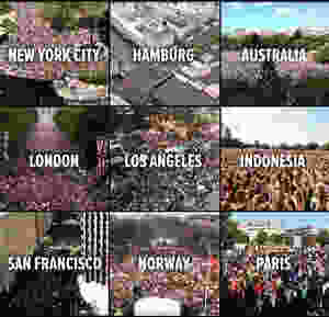 Manifestations in cities around the world because of the Global climate Strike